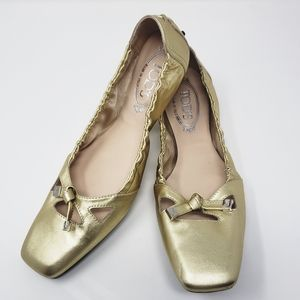 Tod's Loafers Gold Ballet Flats Sz 10 Square Toe